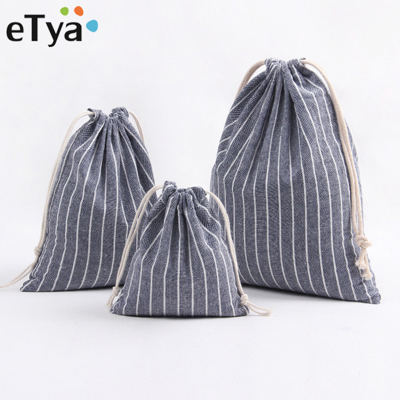 ETya Men Women Travel Clothe Shoes Storage Drawstring Bag Quality Cotton Drawstring Shopping Bag Packing Organizers Shopper Tote