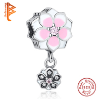 Real 100 925 Sterling Silver Charms Pendent Pink Enamel Flower Beads Fit Original Pandora Bracelet Luxury