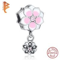 Real 100 925 Sterling Silver Charms Pendent Pink Enamel Flower Beads Fit Original Pandora Bracelet Luxury