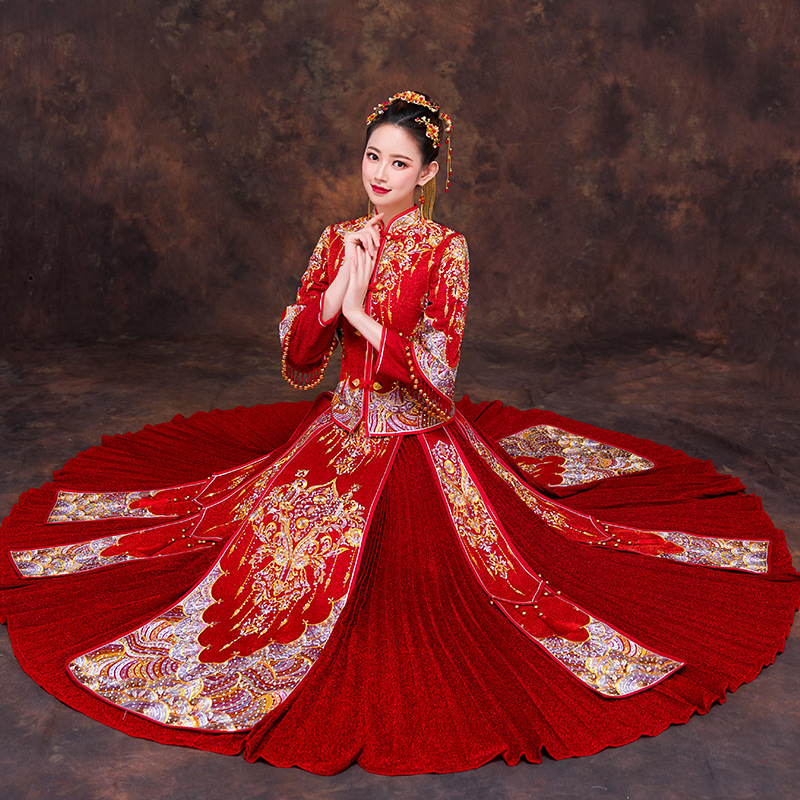d99378fae306c US $15.05 49% OFF|Red Women Phoenix Embroidery Wedding Dress Bride  Traditions Traditional Evening Gown Chinese Cheongsam Red Long Sleeve  Qipao-in ...