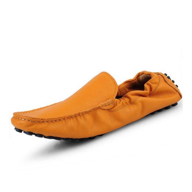 แฟชั่นโลฟเฟอร์ผู้ชายรองเท้าฤดูใบไม้ผลิฤดูร้อนที่มีคุณภาพสูงหนังวัวรองเท้านุ่มระบายอากาศสบายๆสลิปในการขับรถผู้ชายแฟลตรองเท้า-ใน รองเท้าลำลองของผู้ชาย จาก รองเท้า บน   2