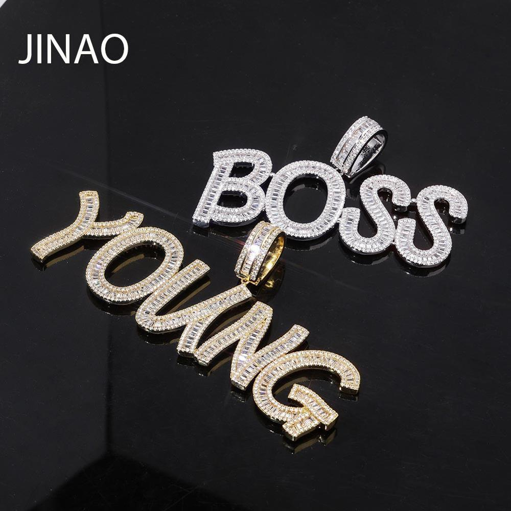 Custom Name Baguette Iced Out Chain Letters Pendants Necklaces Men's Charms Zircon Hip Hop Jewelry With Gold Silver Tennis Chain