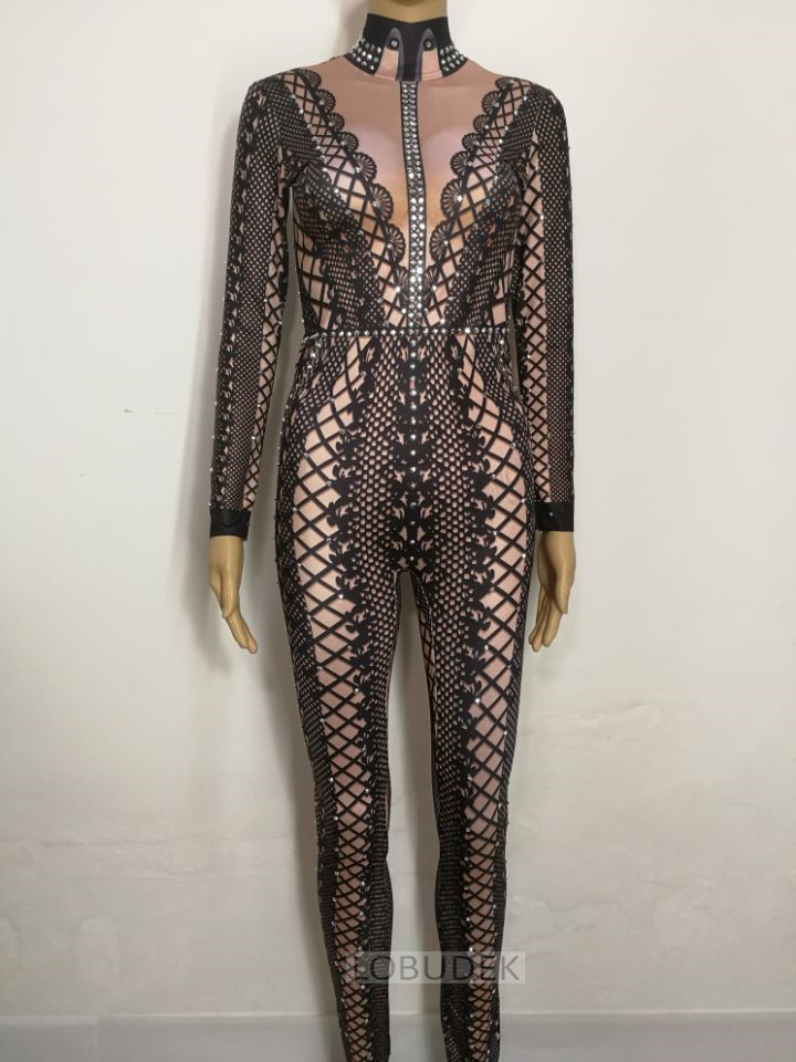 Black White Printing Stretch Leotard Female Jumpsuit Sparkly Crystals Romper Sexy Nightclub Bar DJ Singer Costume Stage Outfit