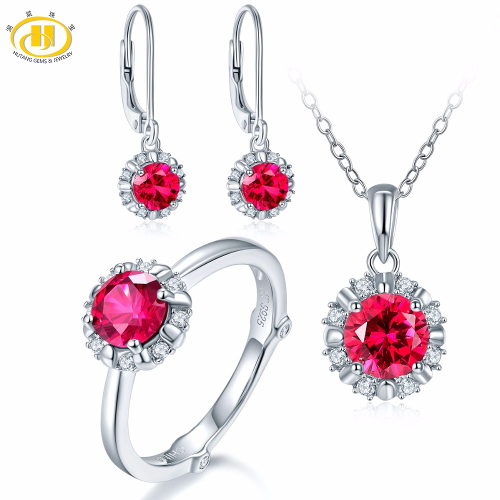 Hutang Natural July Birthstone Created Ruby Solid 925 Sterling Silver Ring Pendant Earrings Gemstone Jewelry Sets Presents Gift