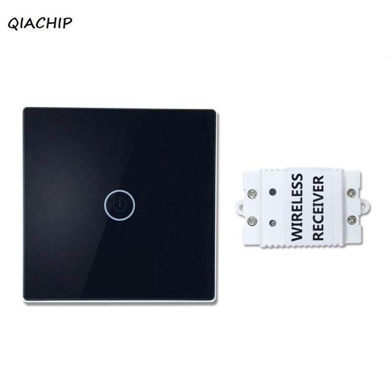 QIACHIP 433Mhz 1CH 220V 86 Touch Wall Switch Luxury Glass Panel Wireless Remote Control Light Lamp Switch for Smart Home H3 smart home uk standard crystal glass panel wireless remote control 1 gang 1 way wall touch switch screen light switch ac 220v