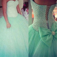 2016 Mint Green Quinceanera Dresses Lace Up Ball Gown With Beads Cheap Quinceanera Gowns Sweetheart Dress Vestidos