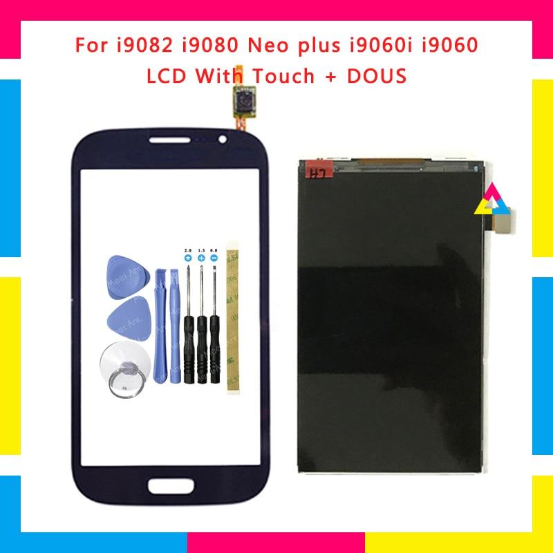 Display lcd com tela de toque digitador sensor para samsung galaxy grand duos i9082 i9080 neo plus i9060i i9060 i9062 i9063 + ferramentas