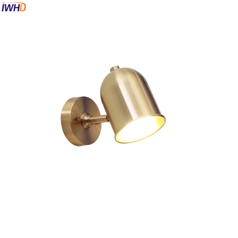 IWHD Copper Nordic Wall Lamps Living Room Creative Bathroom Mirror Light LED Bedroom Home Wall Lighting