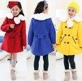 Новинка зимние красивые девушки детей теплый толстый слой пиджаки одежда красно-желто-синий шерсть