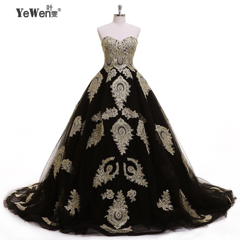 Vintage Black Wedding Dresses: Aristocratic Style Gold Black Sweetheart Formal Dress