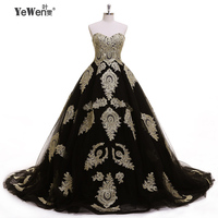 Aristocratic style Gold Black Sweetheart Formal Dress Wedding Dresses 2018 Ball Gown Wedding Vintage Plus Size Lacingup Back