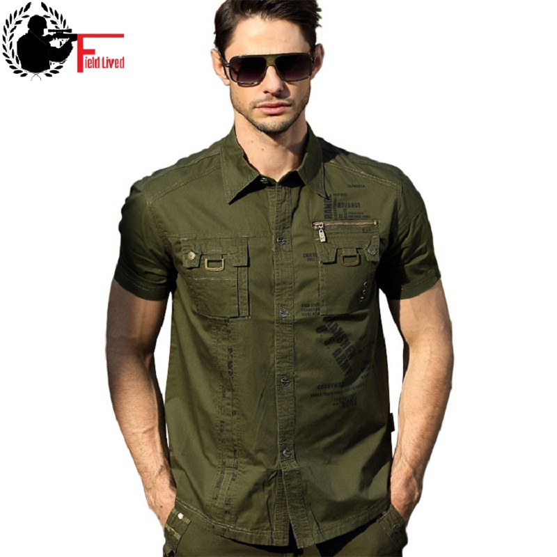 Fashion Men Army Military Casual Shirts Short Sleeve Military Style Uniform NEW