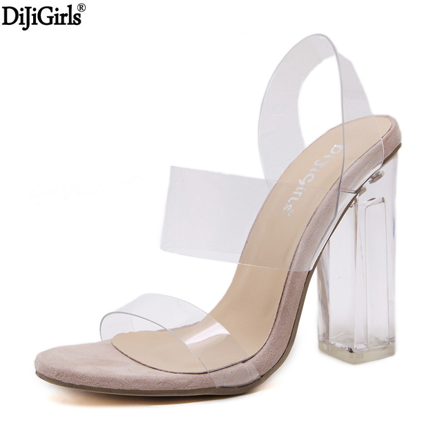 52f36576c43 summer shoes woman 2017 vogue clear heels sexy gladiator transparent shoes  jelly heeled sandals transparent heel thick heels