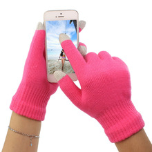 Cheap,2017 New Unisex Wrist Solid Warmer Touch Screen Gloves Man Women Winter Gloves knitted Winter Screen Cleaning Gloves fashion plush warmer touch screen gloves for women black white pair