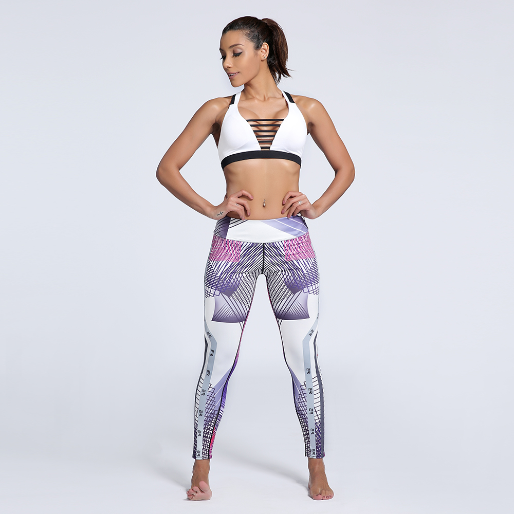 2018 New arrival fashion 3D women digital lines pattern print fitness slim high waist pants Drop ship free shipping