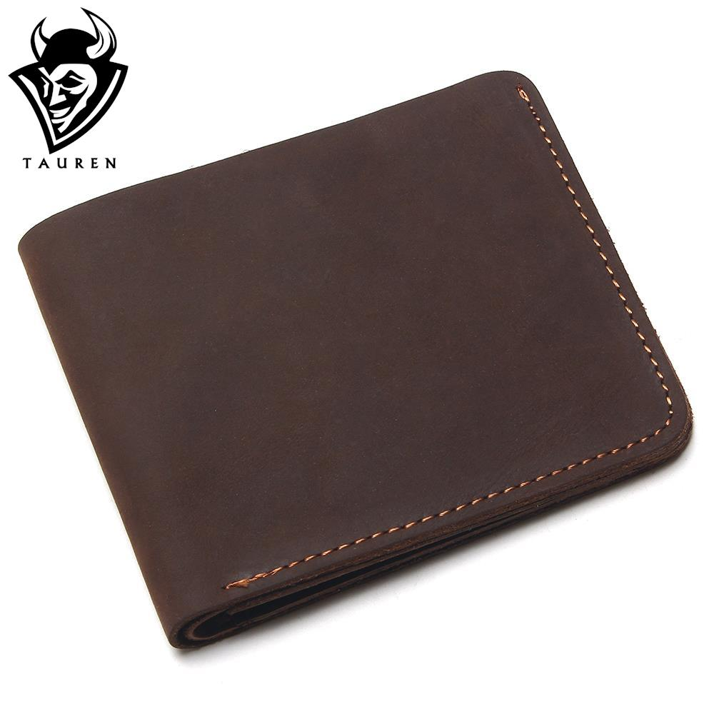 TAUREN 2018 100% Cow Genuine Leather Men Wallets Vertical Style Crazy Horse Leather Newest Desgin Male Purse Leather Thin Wallet tauren 100