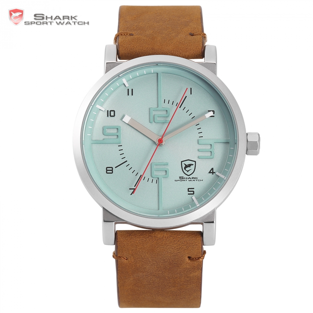Bahamas Saw SHARK Sport Watch Blue Fashion Crazy Horse Brown Leather Casual Men Military Quartz Creative