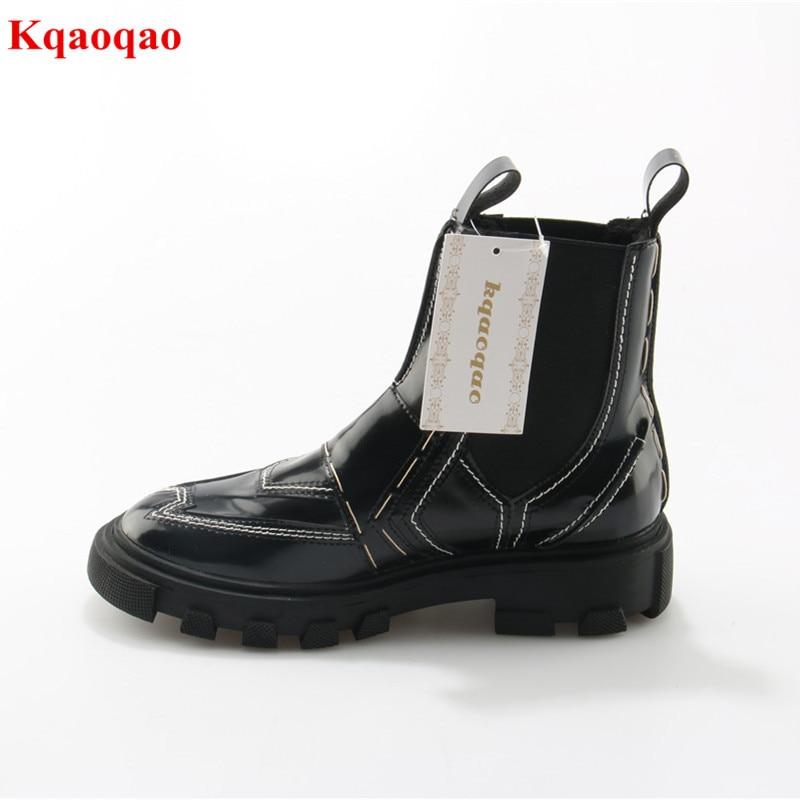 Black Luxury Brand Slip On Women Autumn Winter Boots Hoof Heel Fashion Chelsea Boots Walkway Botas Femeninas Zapatos Mujer 2018 autumn and winter luxury women s