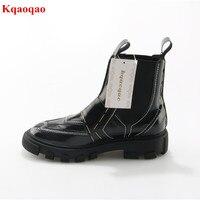 Black Luxury Brand Slip On Women Autumn Winter Boots Hoof Heel Fashion Chelsea Boots Walkway Botas