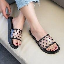 купить Women's Summer Slippers Shoes Dots Transparent Peep Toe Flip Flops Flat Beach PVC Flat Slides Simple Style Slippers Black White по цене 560.31 рублей