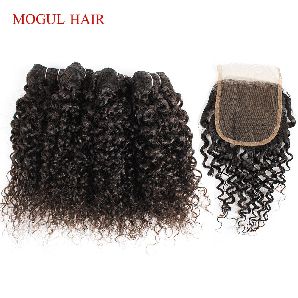 MOGUL HAIR 4 Bundle with Closure Jerry Curly Bundles With Closure 50g/pc Brazilian Remy Human Hair Natural Color-in 3/4 Bundles with Closure from Hair Extensions & Wigs    2