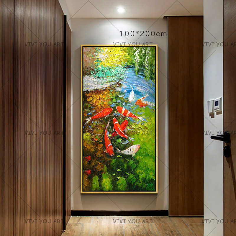 Wall Art Picture Chinese Abstract Nine Koi Fish Landscape Handmade Oil Painting For Living Room Modern Decor Canvas artworks