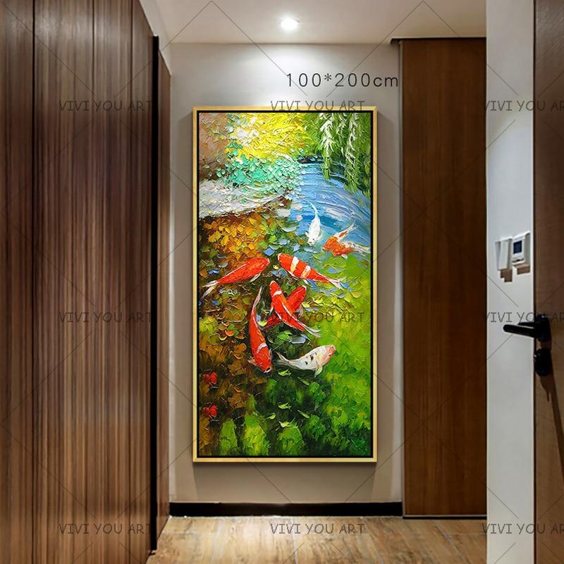 Immagine di Arte della parete Cinese Astratto Nove Koi Pesce Paesaggio Fatto A Mano Pittura A Olio Per Soggiorno Decorazione Moderna Della Tela opere d'arte