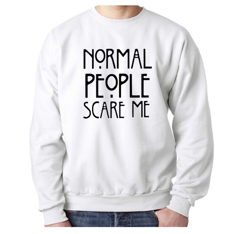 EnjoytheSpirit Men Sweatshirt Cotton Normal People Scare Me Printed Funny Cool Winter Tops Warm Cotton Fleece Hoodie O Neck