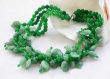 Ожерелье g emstones jades 4 ряда 19 дюймов зеленое круглое ожерелье
