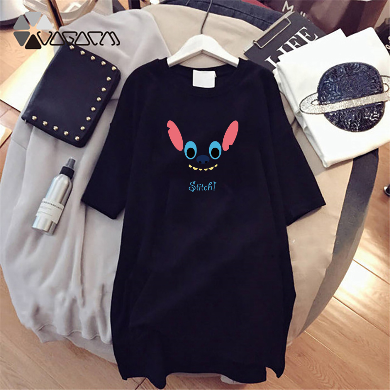 2019 Summer Women Dresses Stitch Cartoon Printing Casual Loose Black Midi Women Clothes Big Size Cute Dress Disney Vestidos in Dresses from Women 39 s Clothing