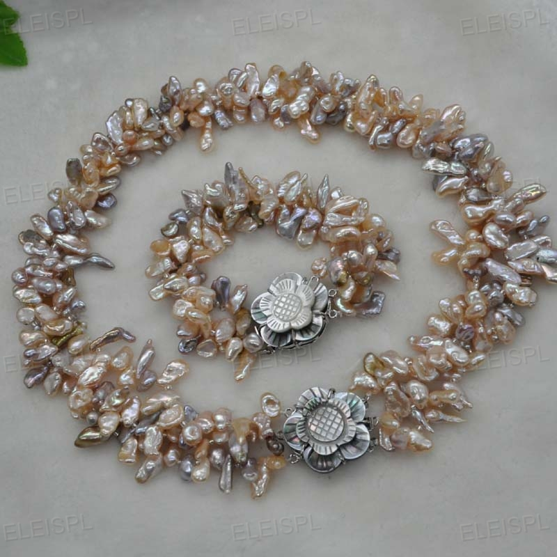 2Strands 7-8mm Gray Round Freshwater Pearl Mabe Clasp Bracelet Handmade Women