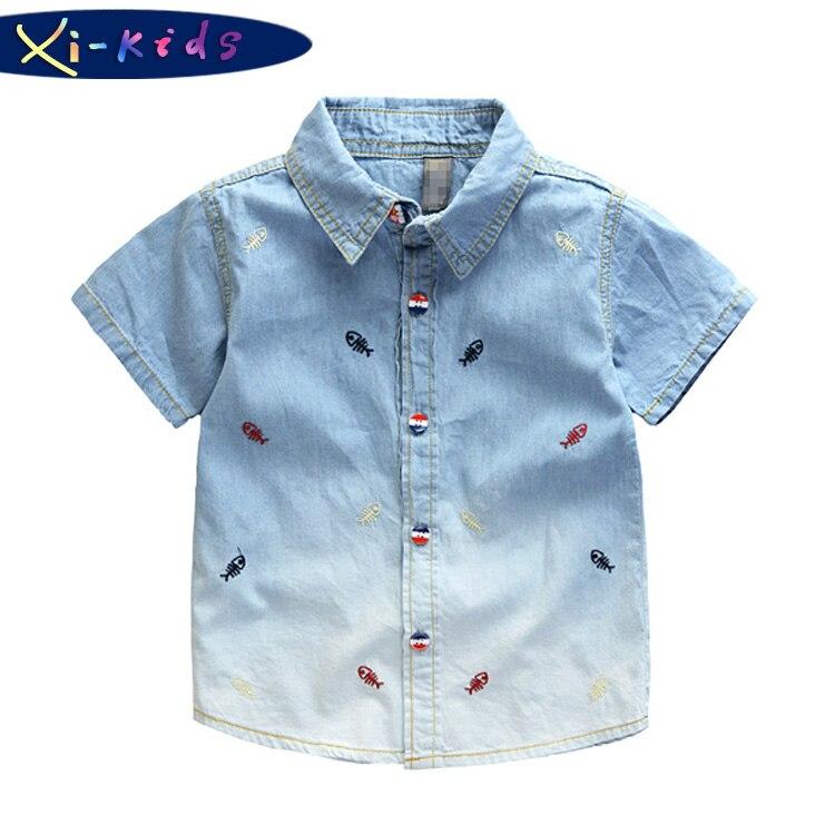 f13979984e9 Little Fish Gradient Baby Boy Shirt Designer Kids Wear Boys Denim Shirt  Boys Shirts Summer Kids Clothes Roupa Infantil-in Shirts from Mother   Kids  on ...