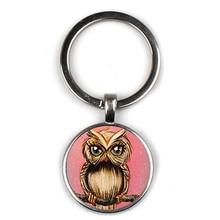 Fashion Cute Owl Art Pattern Keychain Concave Glass Pendant Key Ring Charm Men and Women Children Chain Gift Party Souvenir