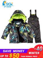 Kids Boy And Girl Luxury Brand Ski Jacket Windproof Jacket Thick Warm Winter FurJacket / Coat + Trousers Free Shipping 004