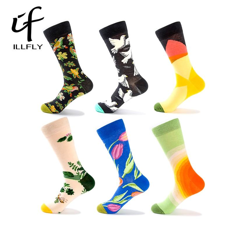 6 Pairs Flower Pigeon Happy Novelty Mens Funny Socks Meias Brand Short Fancy Socks Cotton Harajuku Casual Socks Size EU 40-45