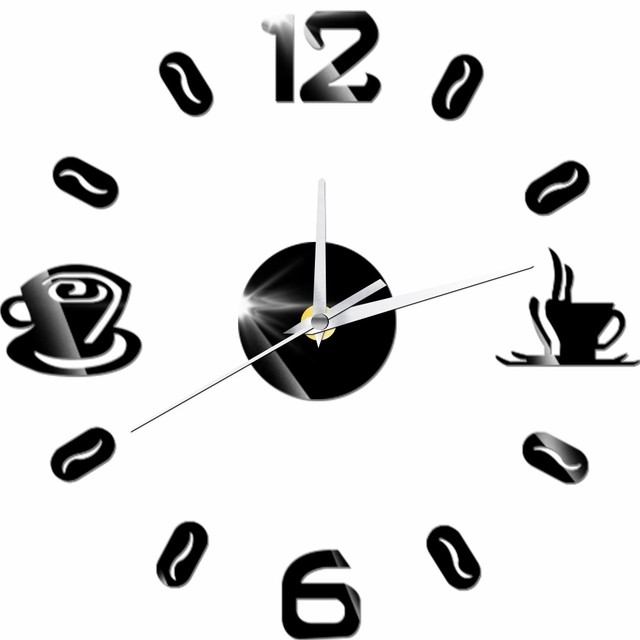 Digitale Zahl Kaffeetasse DIY Clock Acryl Aufkleber Selbst adhensive ...