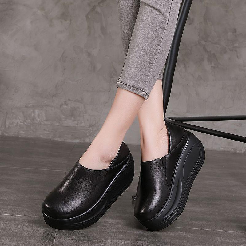 Tyawkiho/женские туфли-лодочки из натуральной кожи, черные туфли без застежки на высоком каблуке 7 см, 2018 женские ботинки «Челси», туфли на танке...