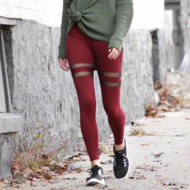 Fashion Women Casual Leggings Mesh Patchwork Leggings For Female Slim Elastic High Waist Fitness Leggings Lady LEGGINGS Stockings color: Black|Blue|Wine Red