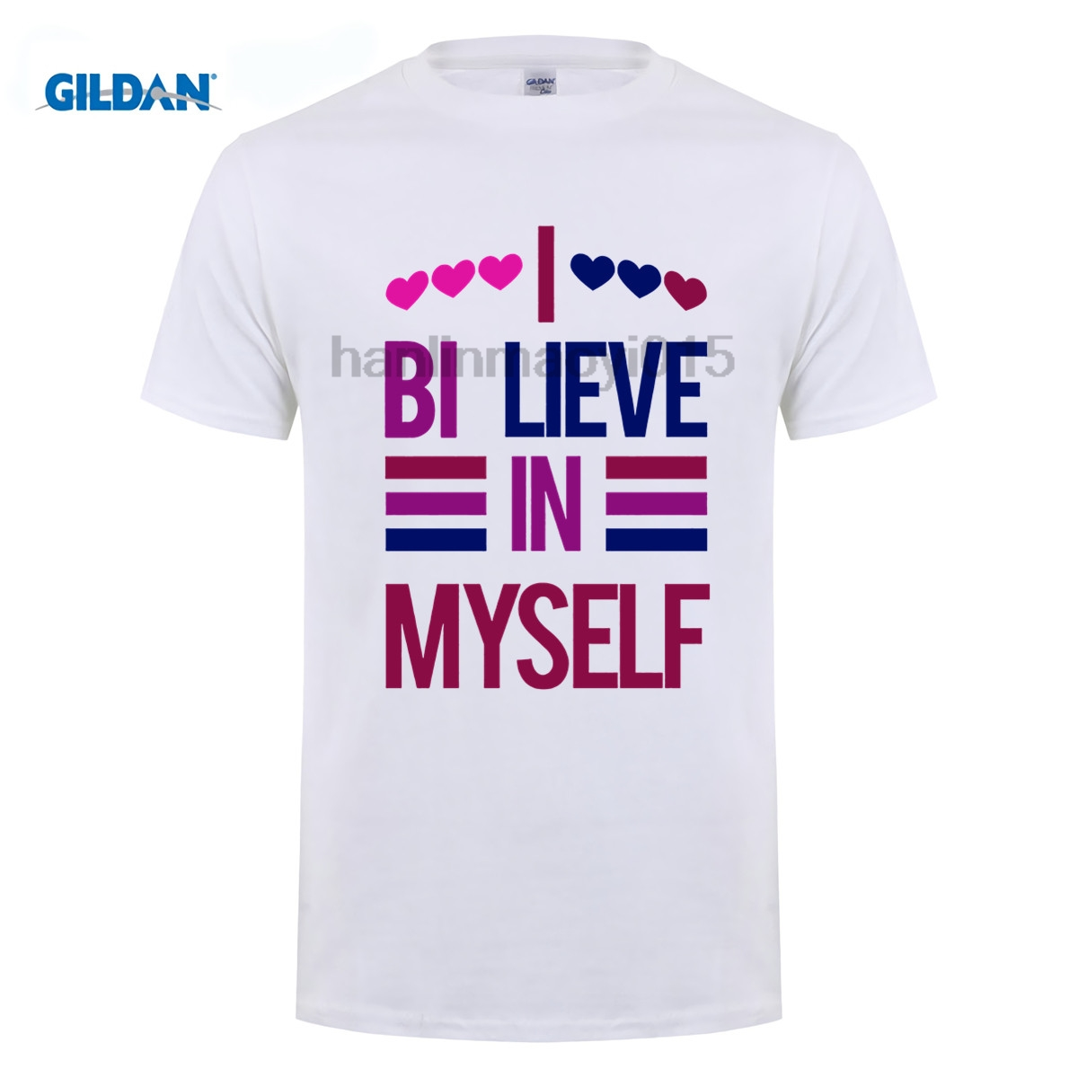 100% Cotton O-neck printed T-<font><b>shirt</b></font> <font><b>Bisexual</b></font> <font><b>Pride</b></font> <font><b>Shirt</b></font> I Bi-Lieve in Myself T-<font><b>Shirt</b></font> image