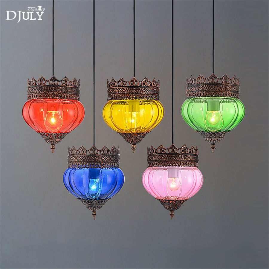 Mediterranean crown Colored glass pendant lights retro coffee store bar loft decor kitchen dining room hanging lamp fixturesMediterranean crown Colored glass pendant lights retro coffee store bar loft decor kitchen dining room hanging lamp fixtures