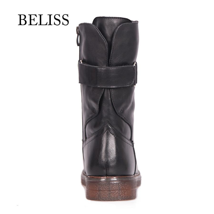 BELISS รองเท้าอุ่นฤดูหนาวกลางลูกวัวหนังวัวแท้ 2018 สบาย boot สำหรับผู้หญิง handmade แฟชั่น B45-ใน รองเท้าบู๊ทครึ่งน่อง จาก รองเท้า บน   3