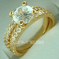 18k gold filled Engagement wedding ladies solid rings set R180 size M-S
