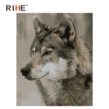 RIHE Fierce Wolf Diy Painting By Numbers Animal Oil On Canvas Hand Painted Cuadros Decoracion Acrylic Paint Home Decor