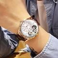 MEGIR Top Brand Кварцевые наручные часы Для мужчин модные Повседневное Для мужчин кожаный ремешок Водонепроницаемый спортивные часы мужской Relogio ...