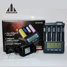 OPUS-Cargador de batería BT-C3100 inteligente, digital, LCD, con 4 ranuras para baterías recargables 10440, 18650, iones de litio, NiCd, NiMH, AA