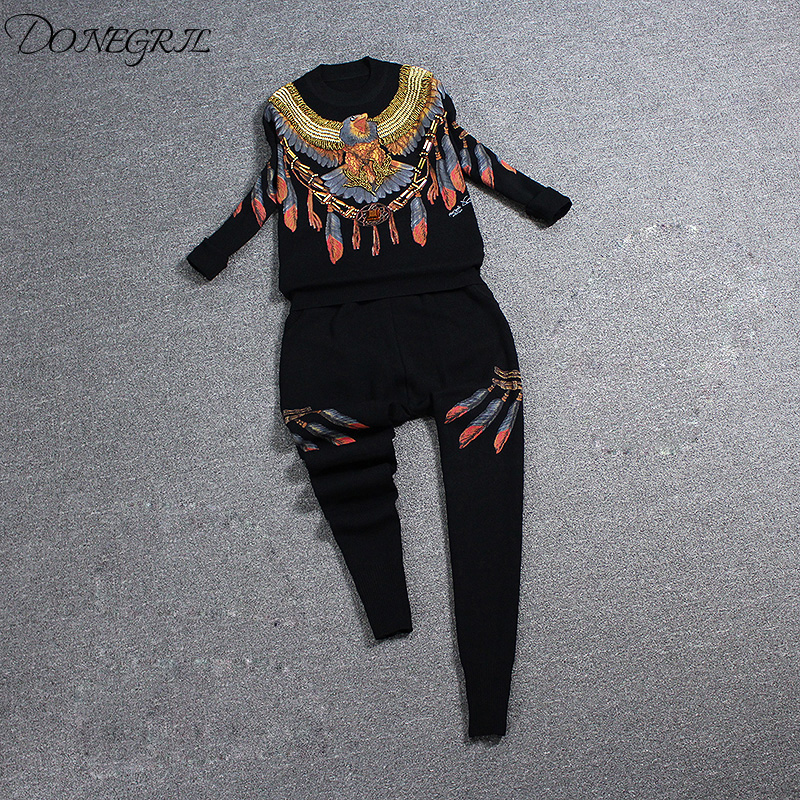 Higth quality Embroidery design 2 Piece Set Women Tracksuit Knitting Long-sleeved embroidery Sweater + Harlan pants suit