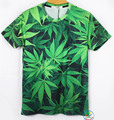 New Fashion Clothing Harajuku Weed T-Shirt Leaf Green Leaves Printed Top Shirts 3D Tee t shirt Women Men