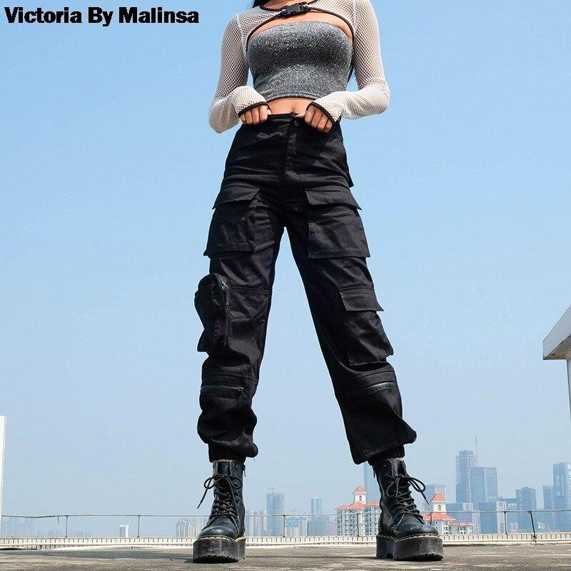 Femmes mode 2019 poches Patchwork Hippie pantalon faux Zipper tissé taille haute Streetwear pantalon noir Cargo pantalon