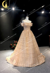 Image 2 - JIALINZEYI Echt Bild Luxuriöse Boot ausschnitt Chapagne Perlen Gericht Trian robe de soiree Formale Kleider Abendkleid 2019