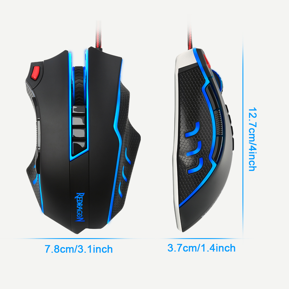 Redragon USB wired RGB Gaming Mouse 24000DPI 10 buttons laser programmable game mice LED backlight ergonomic for laptop computer 15